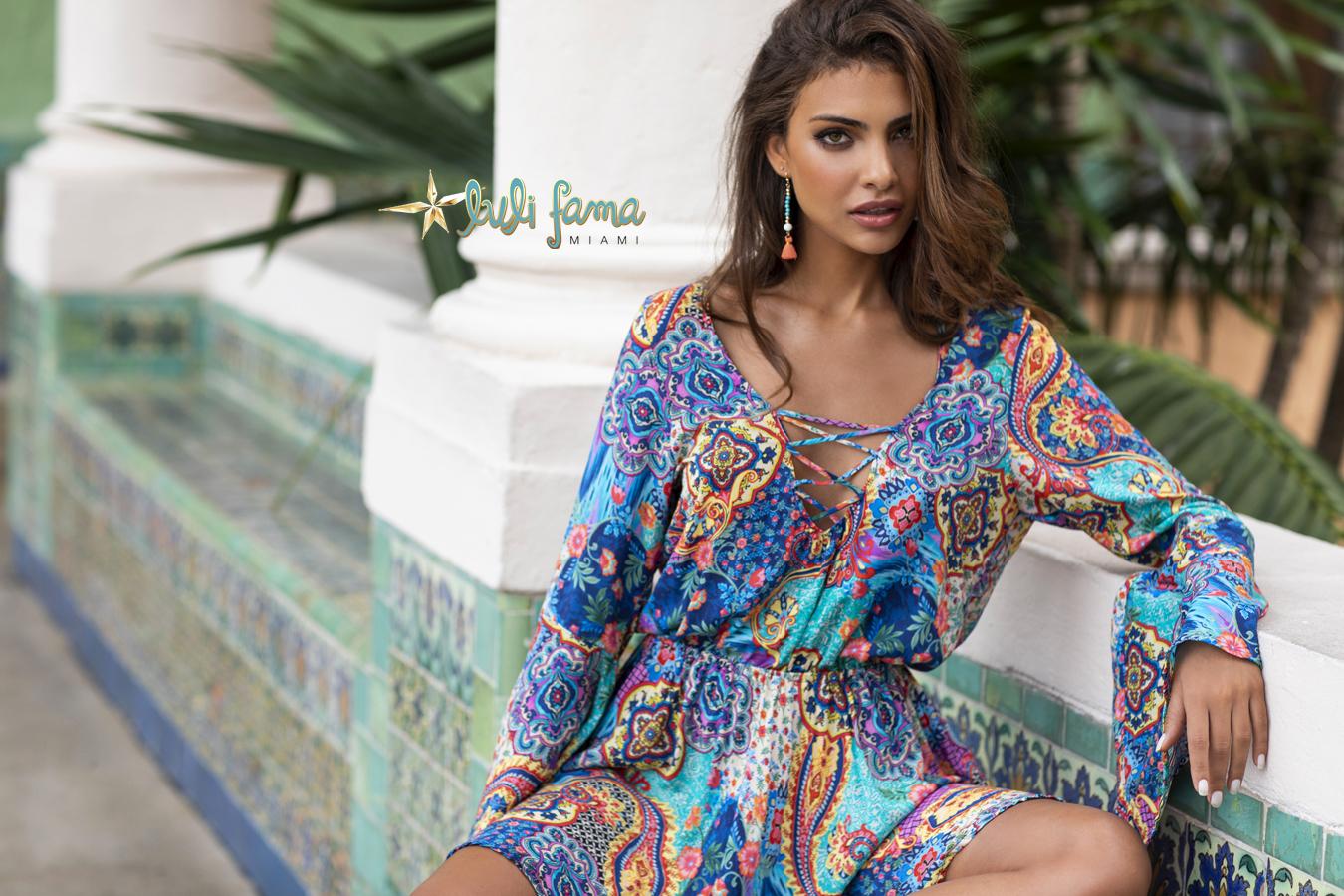 Luli Fama at Butterflies and Bikinis Wapisima Laced Up Bell Sleeve Dress
