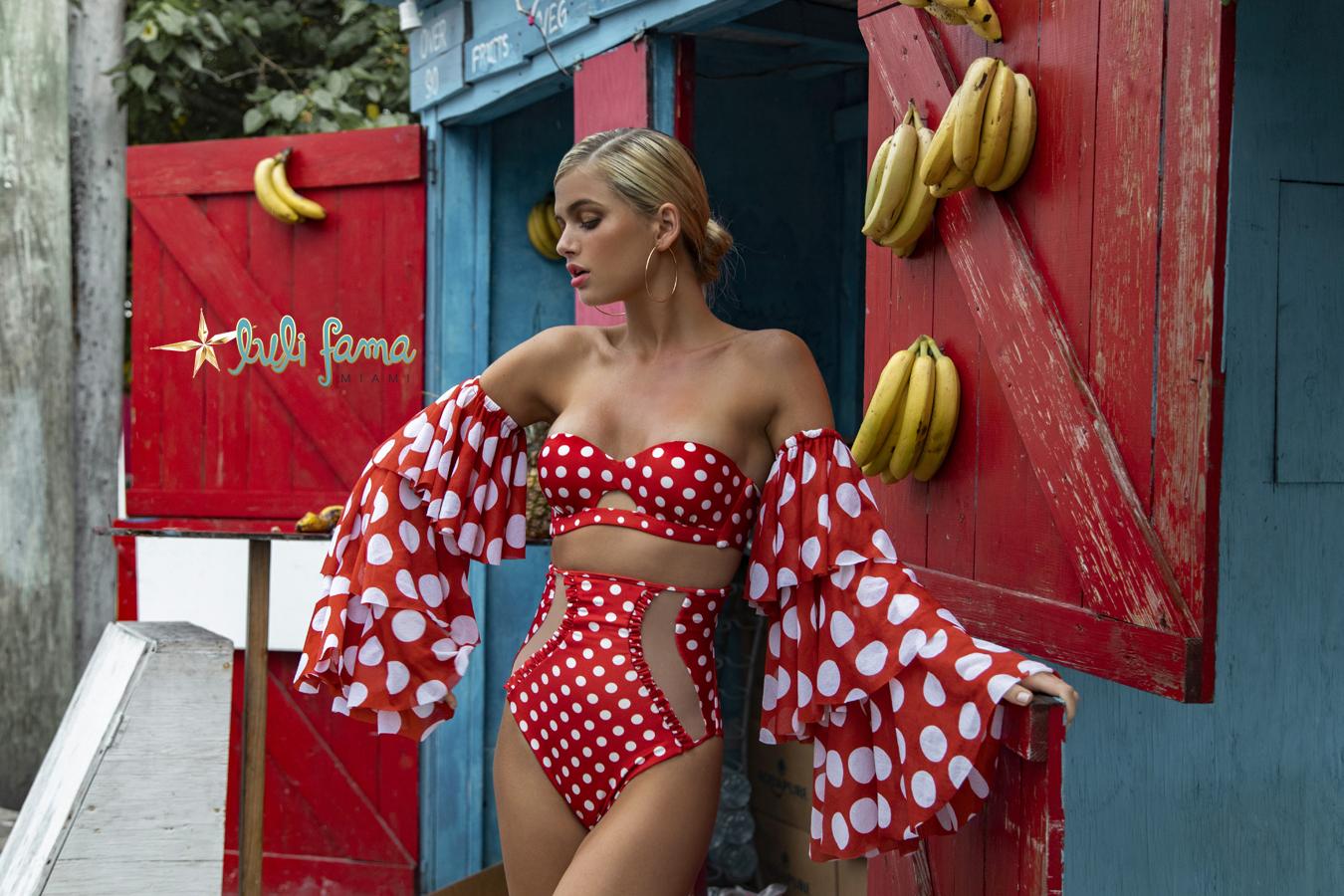 Luli Fama at Butterflies and Bikinis Macarena Peekaboo Underwire Bandeau and High Waist Corset Bottom