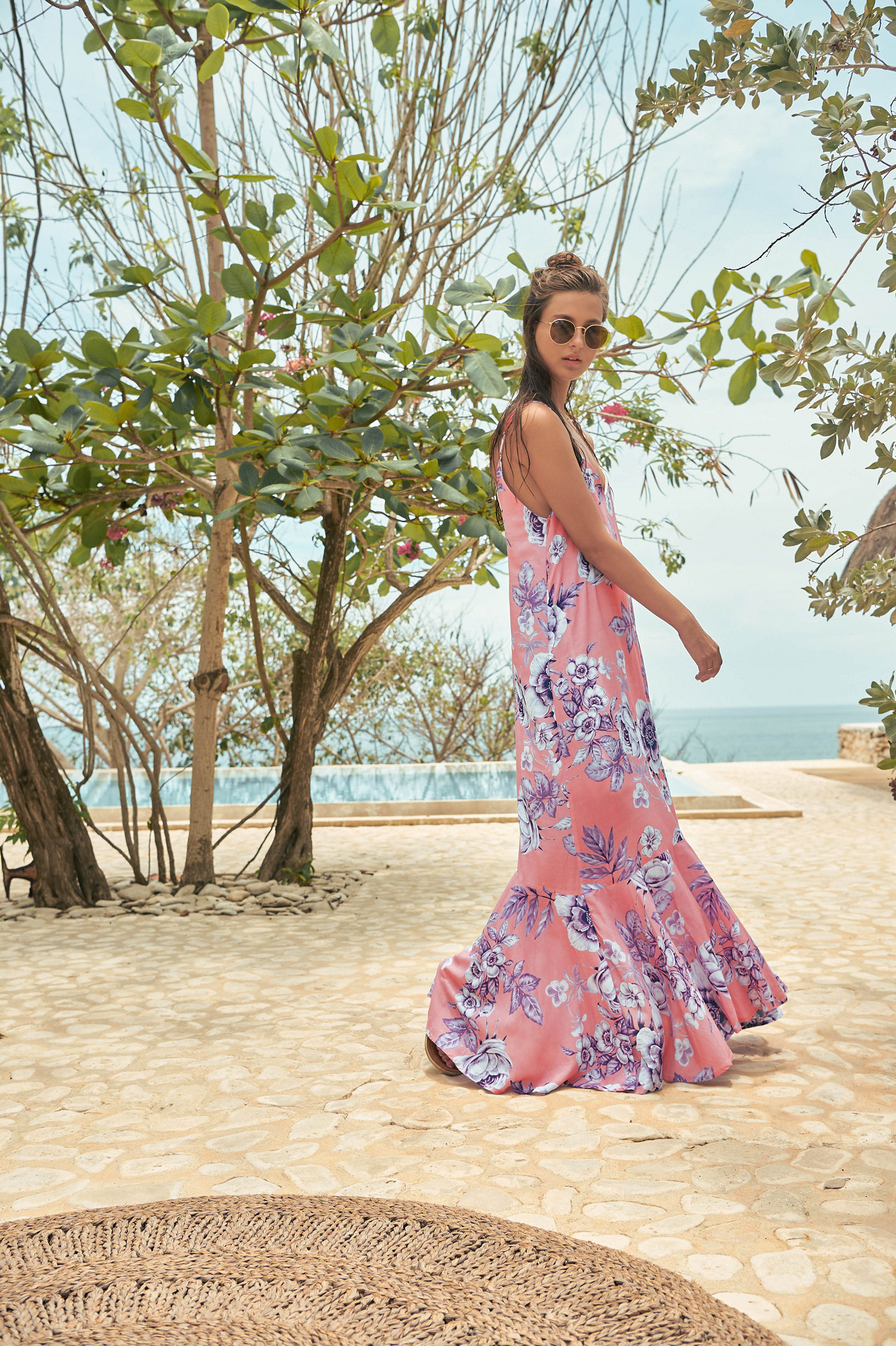 2019 Malai Swimwear at Butterflies and Bikinis featuring the Blossom Lilas Ruffino Maxi Dress Cover Up