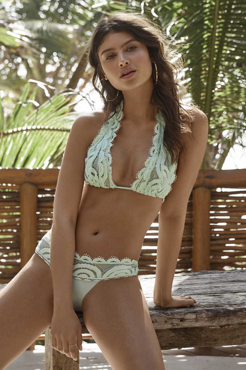 Find 2019 PilyQ Swimwear at Butterflies and Bikinis, featuring the Pilyq Azura Lace Halter and Lace Banded Teeny Bottom