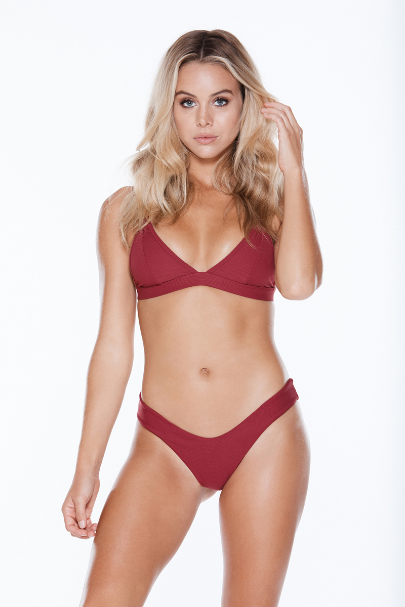 Find the 2019 MGS Swimwear Collection at Butterflies and Bikinis, featuring the MGS Swim Spice Top and Spice Bottom in Burgundy