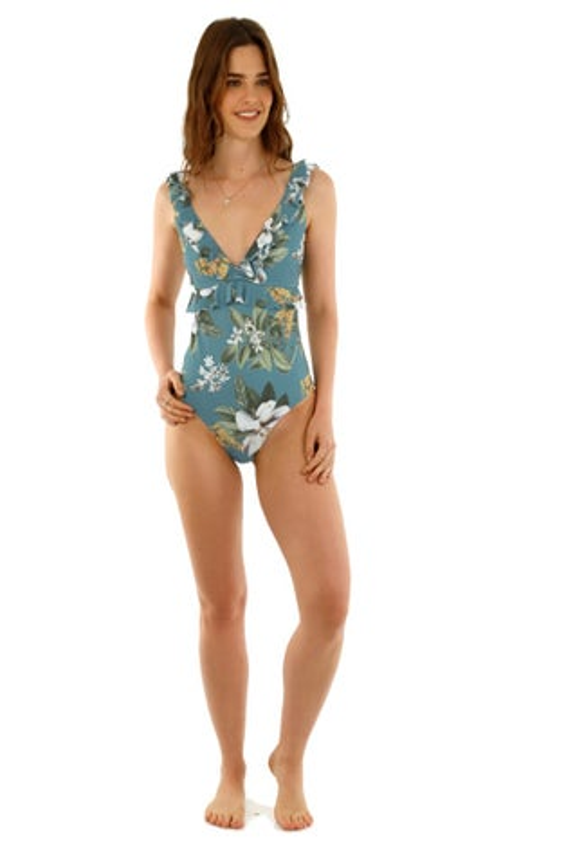 Kibys Aqua Flora Amber Ruffles One Piece Swimsuit