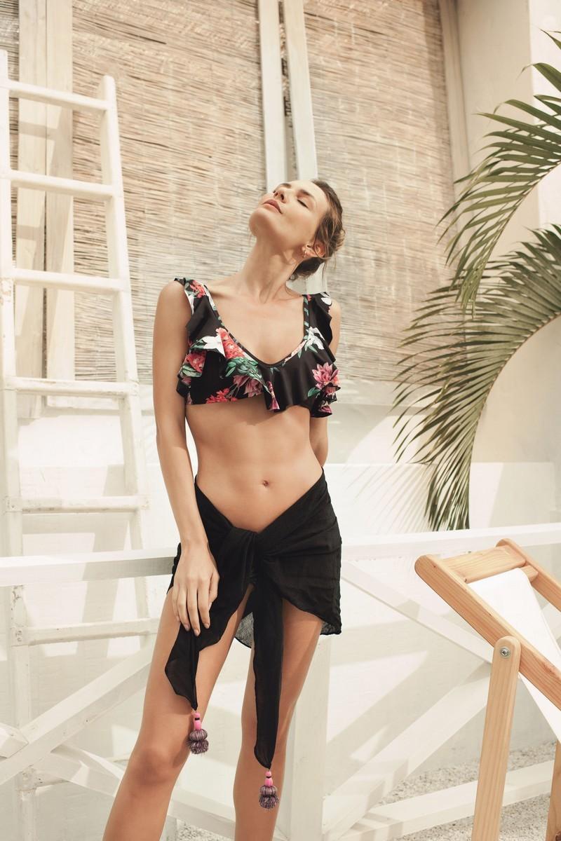 Kibys Black Flora Alma Ruffles Bikini Top