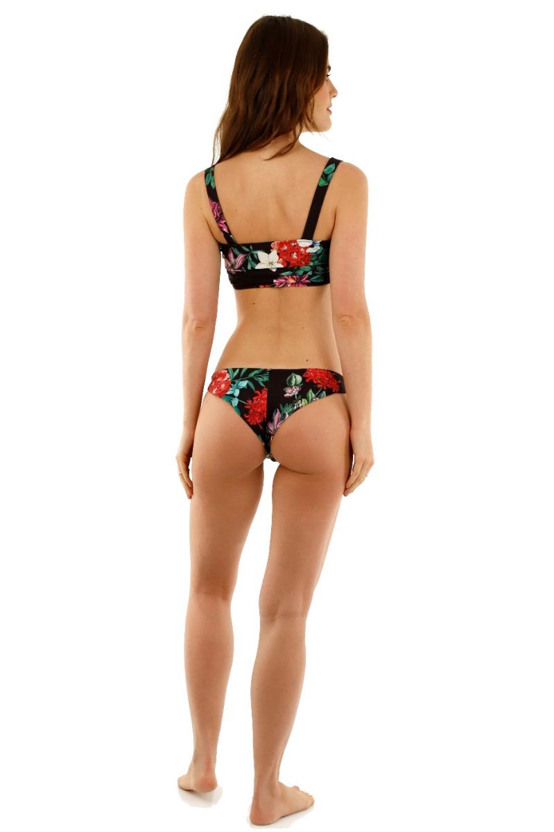 Kibys Black Flora Charlotte Cheeky Bikini Bottom