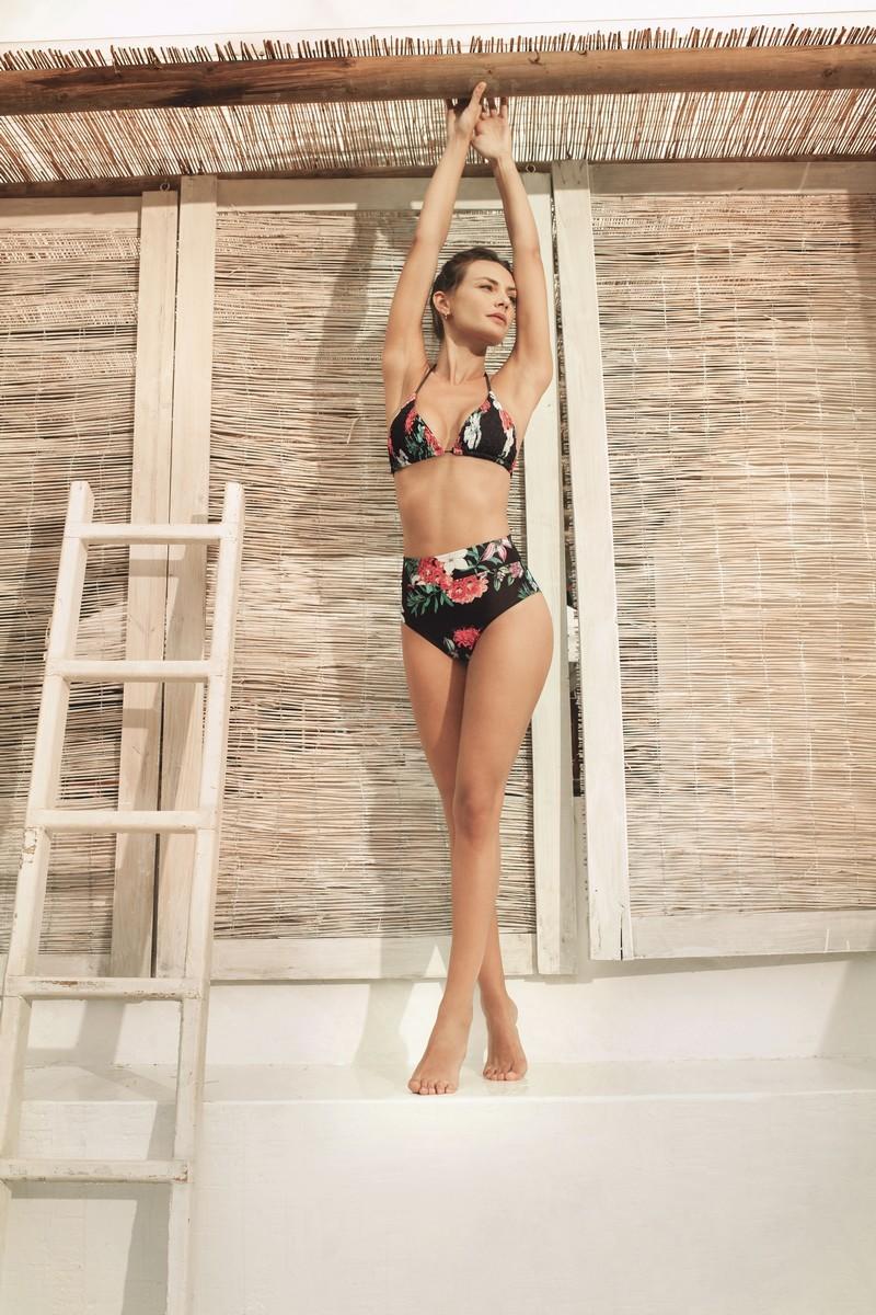 Kibys Black Flora Maggie Triangle Bikini Top