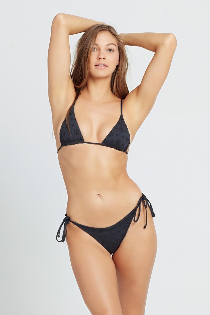 L*Space Black Eyelet Lennox String Bikini Bottom