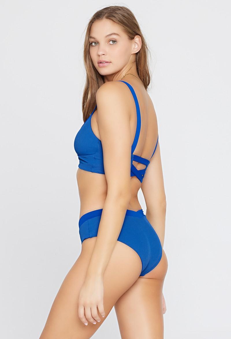 L*Space Indigo Ribbed Pratt Bikini Bottom