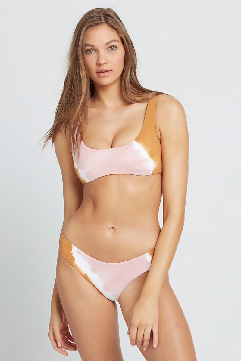 L*Space Stripe Tie Dye Lizzie Bikini Top