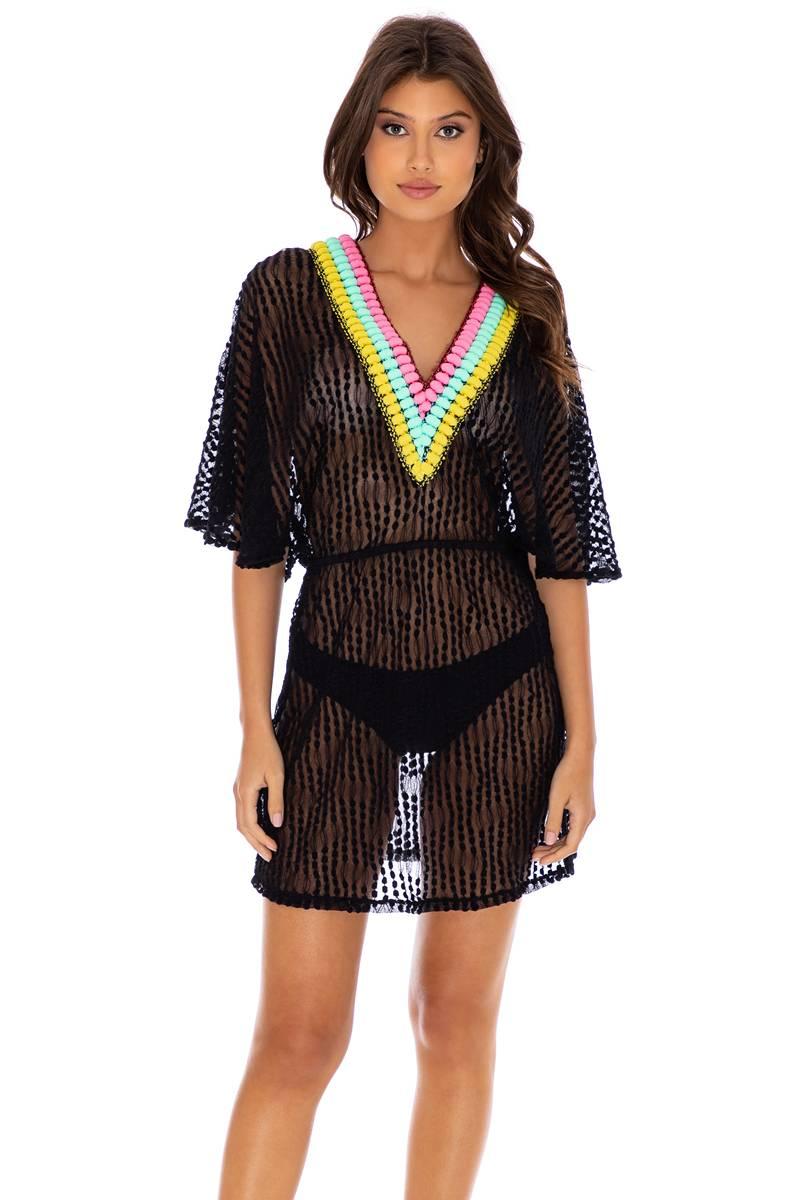 Luli Fama Night Lights V Neck Short Dress