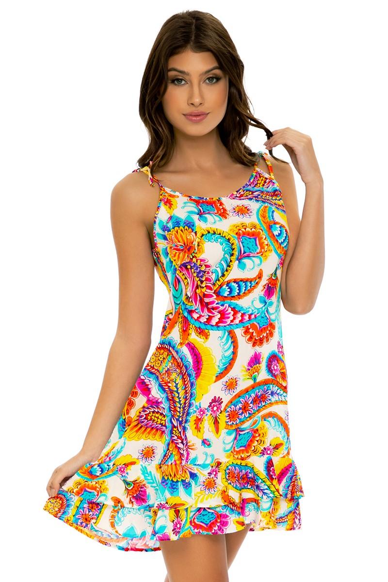 Luli Fama Summer Love Cabana V Neck Dress
