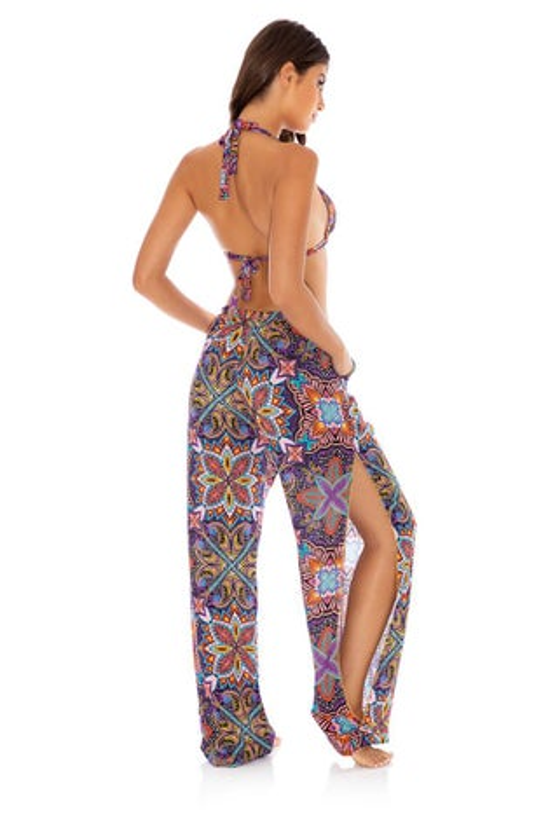 Luli Fama Tiki Babe Split Side Wide Leg Pants