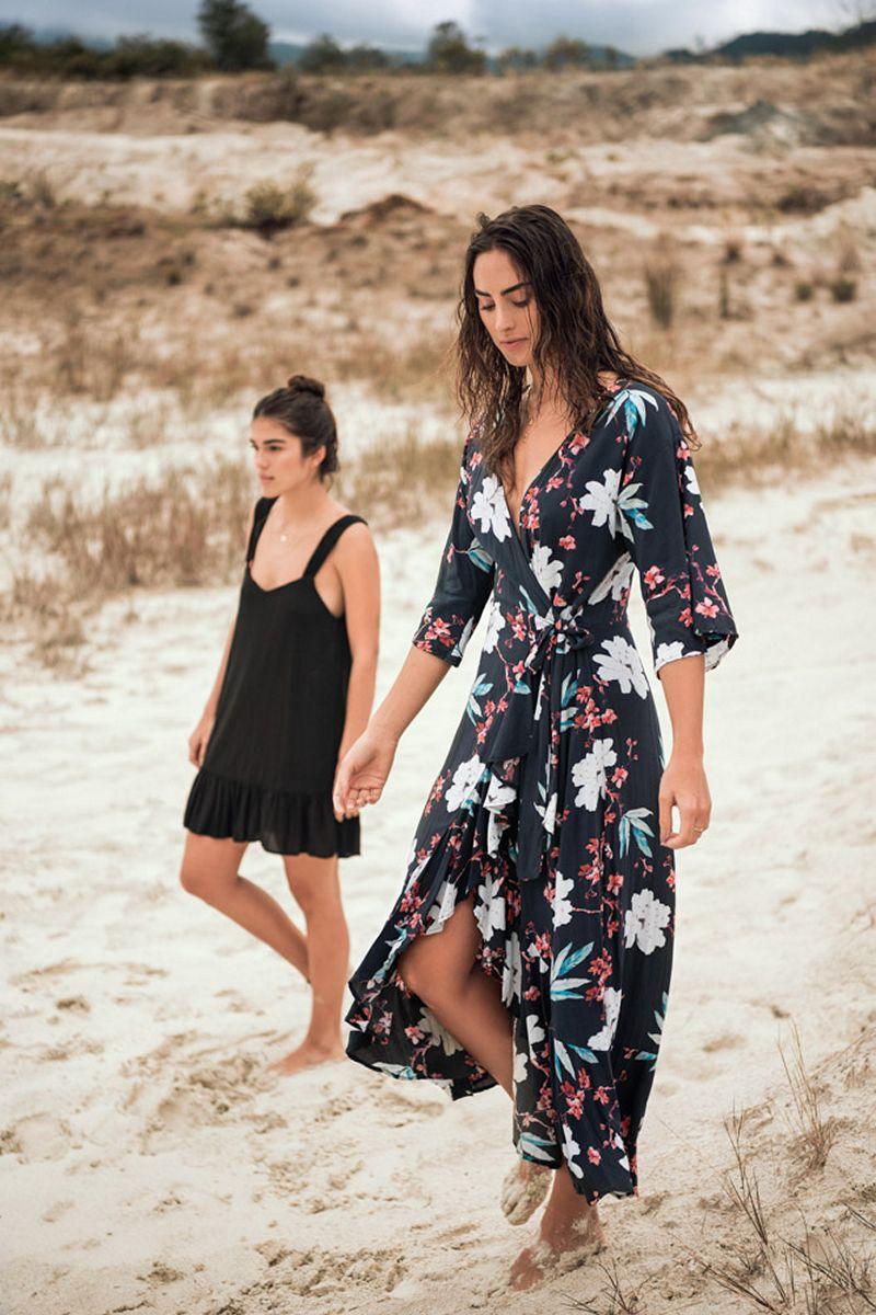 Malai Black Blossom Marigold Maxi Dress
