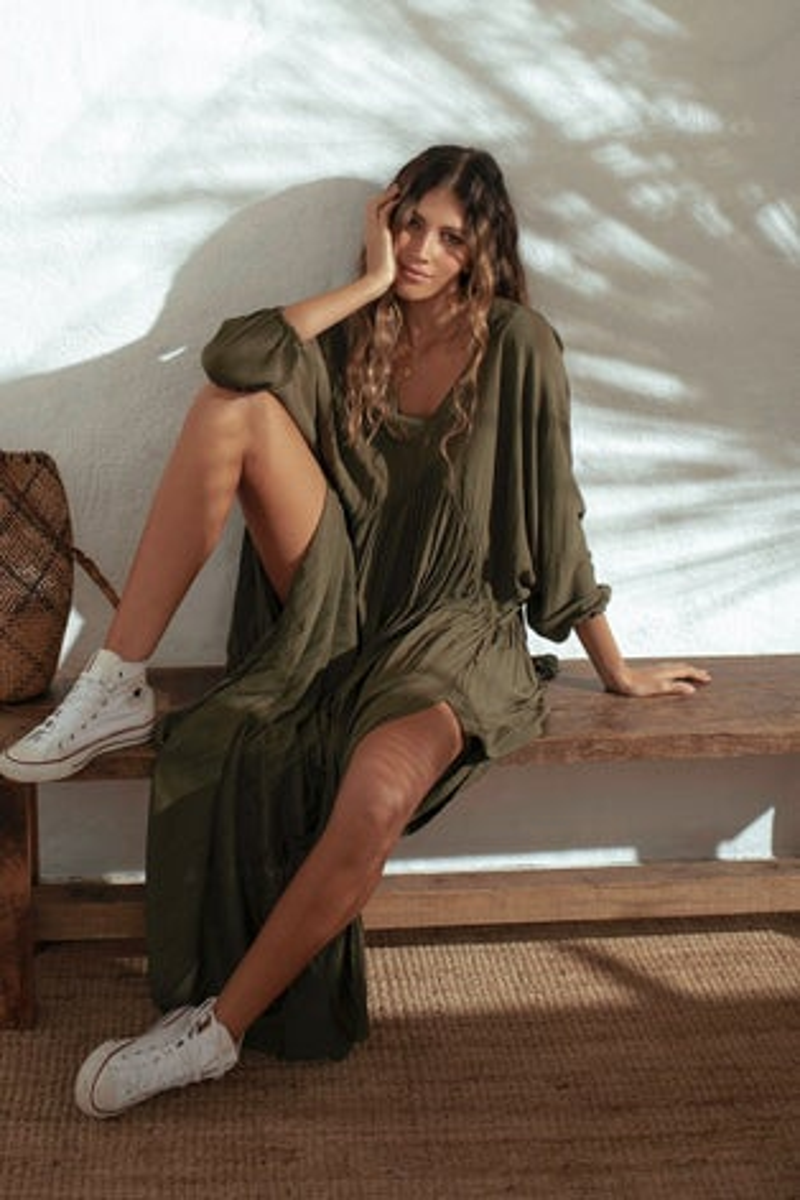 Malai Kale Green Loner Maxi Dress
