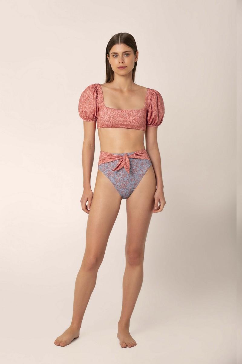 Palmacea Azulejo 21 Puff Sleeve Bikini Top