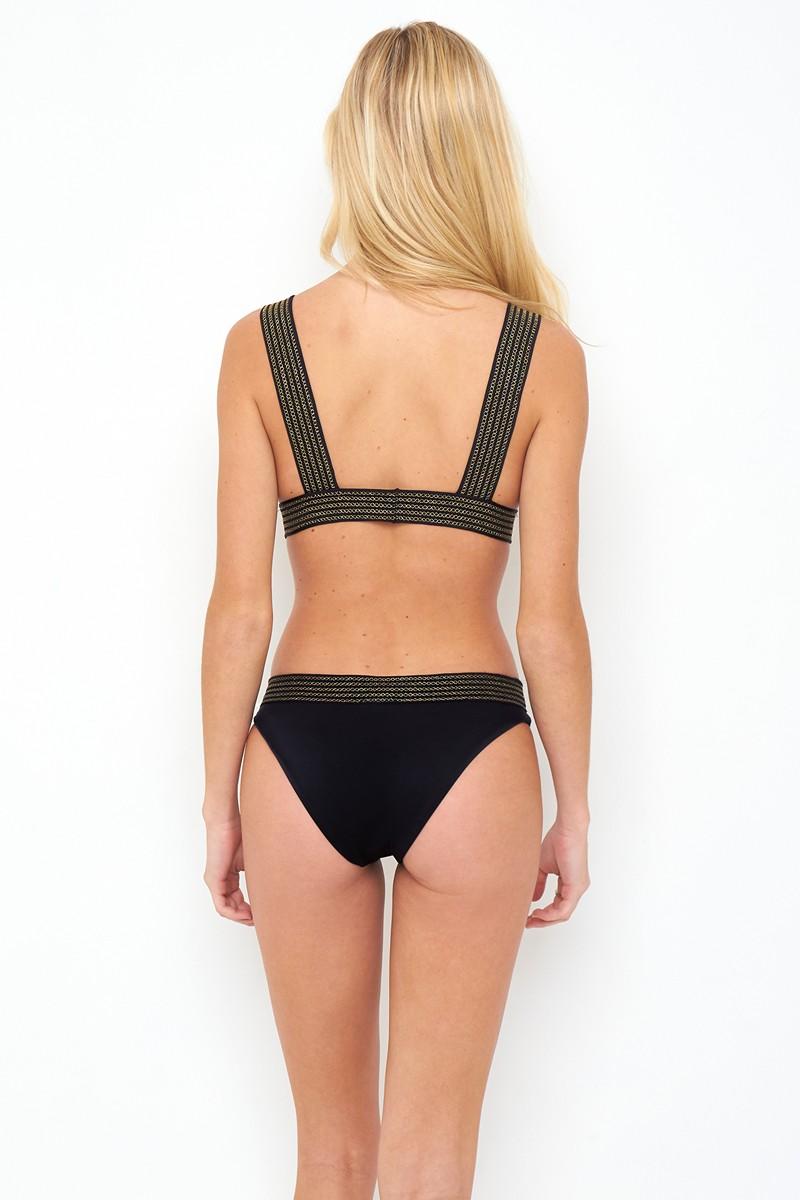 Peixoto Coral Bikini Bottom in Black Gold