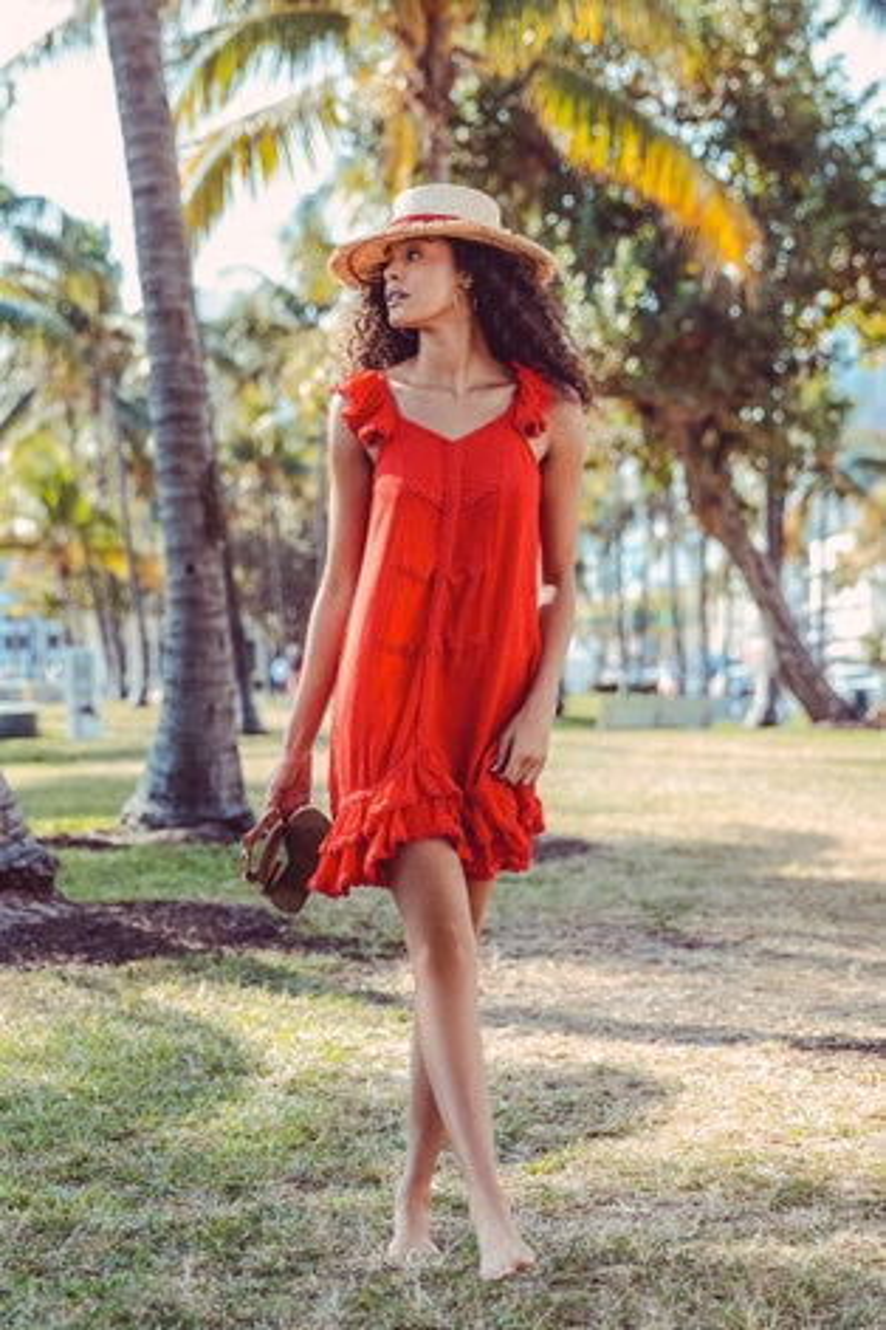 Peixoto Flamenco Dress in Red Sangria