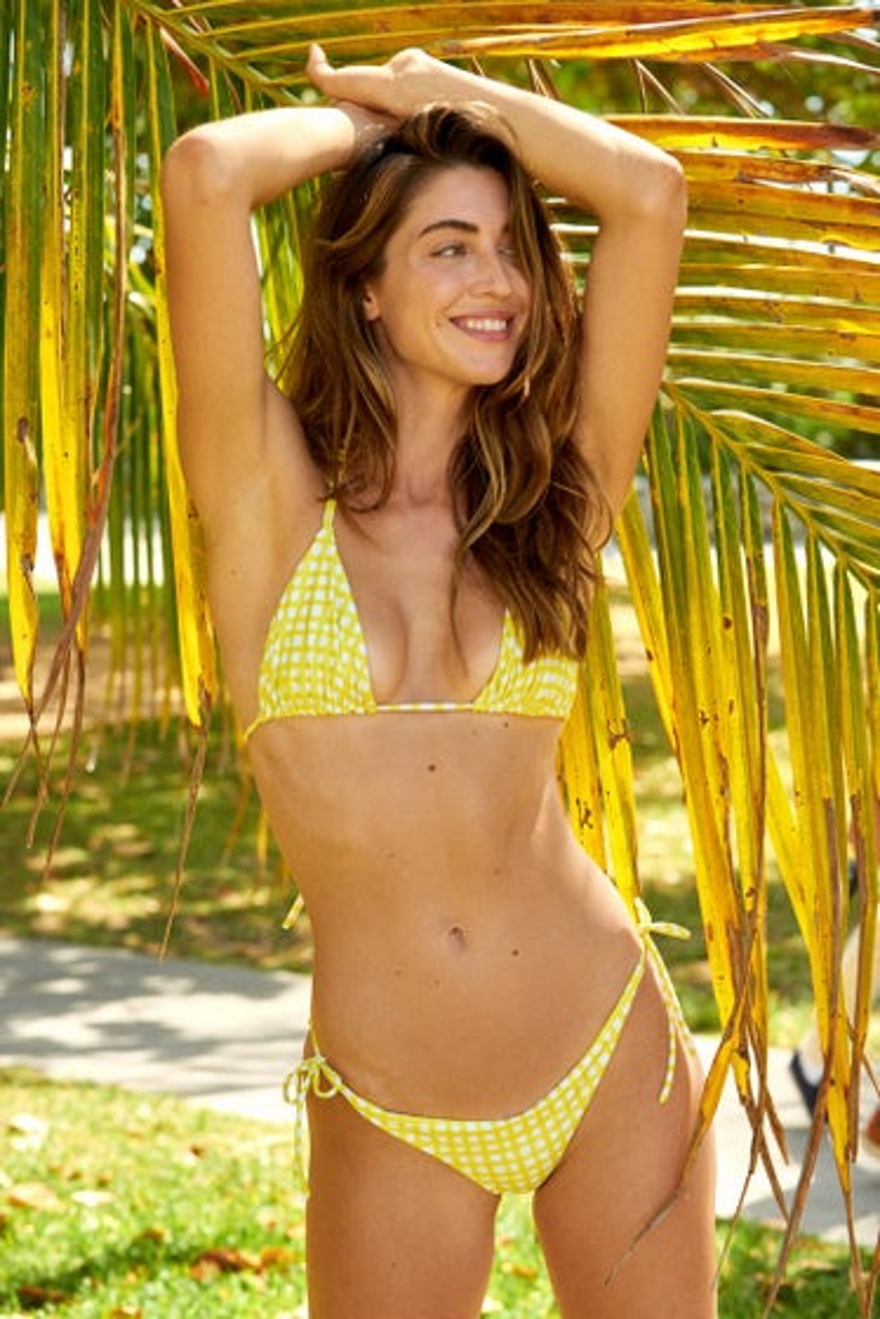 Peixoto Lemon Gingham Tonie String Tie Bikini Bottoms