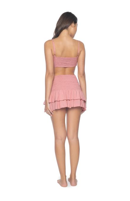 PilyQ Dusty Rose Cleo Smocked Skirt