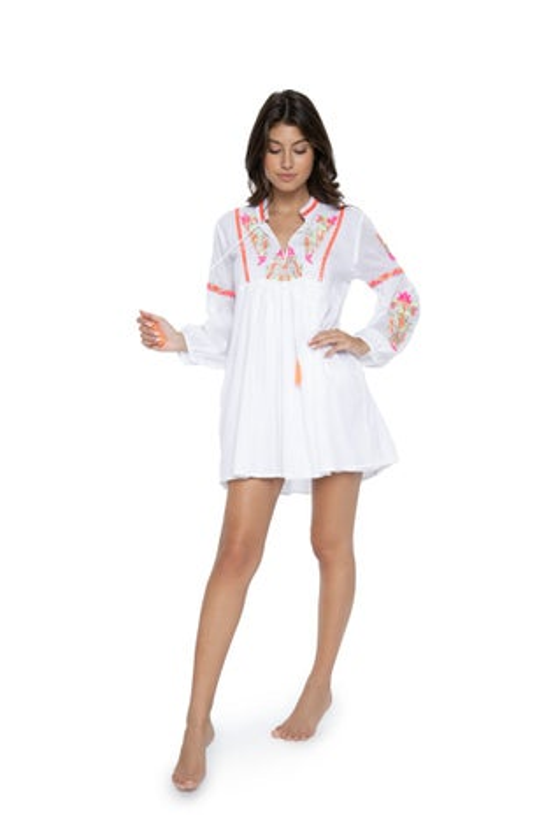 PilyQ Pink Crush Lana Embroidered Dress