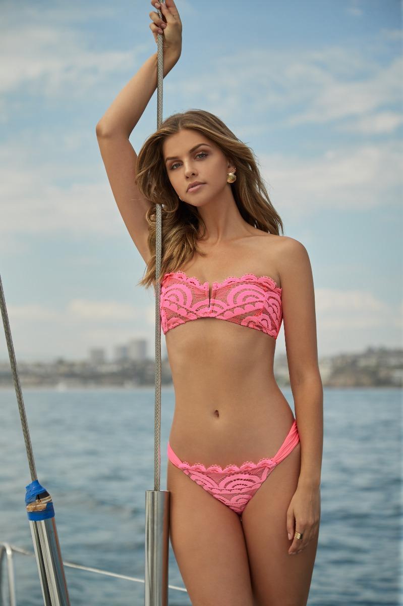 PilyQ Pink Crush V Lace Bandeau Bikini Top
