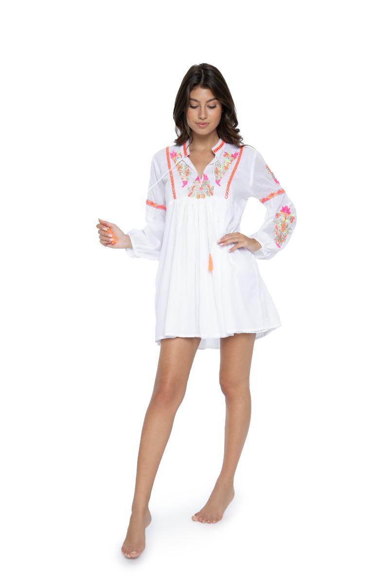 PilyQ Pink Crush Capri Embroidered Tunic