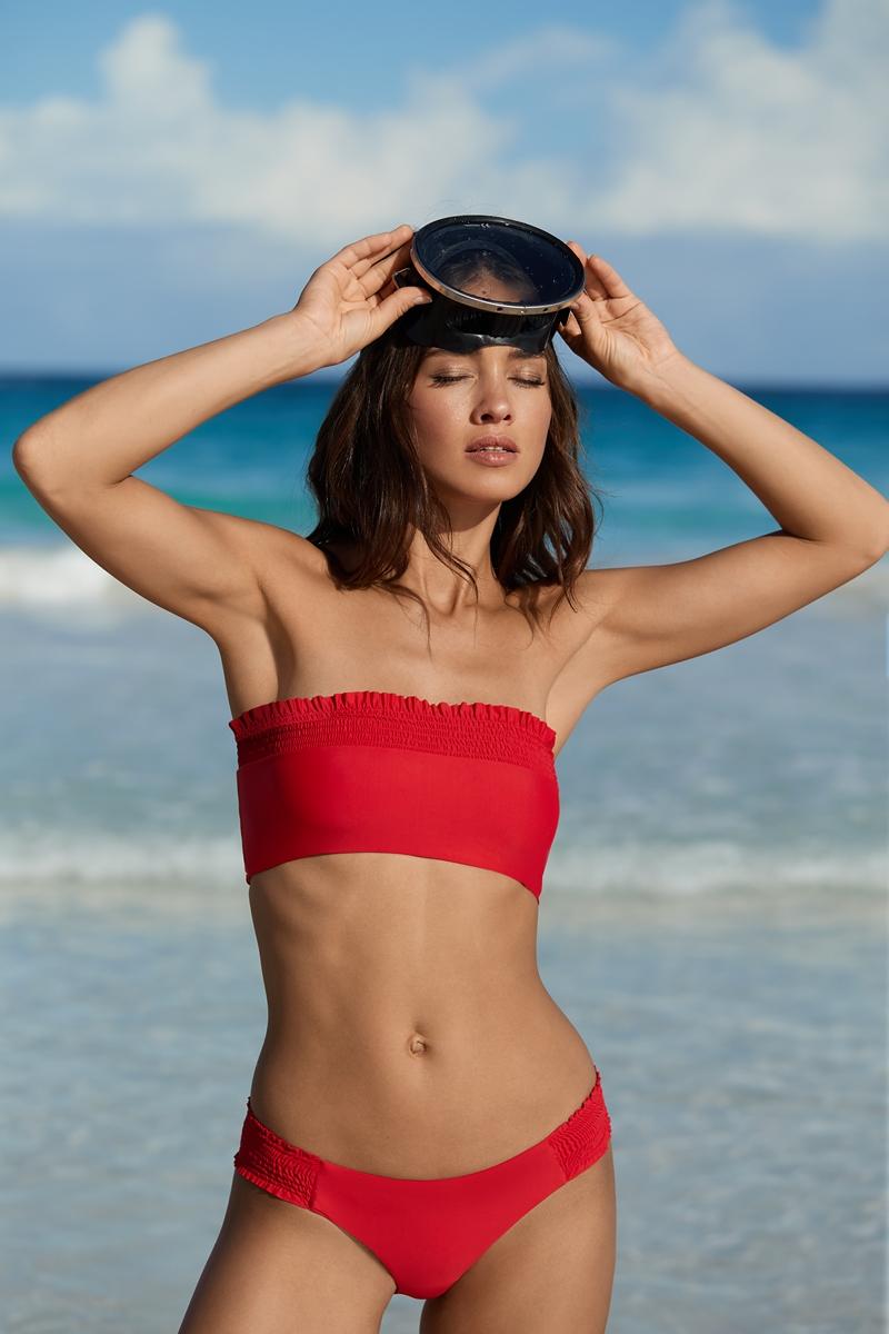 PilyQ Red Coral Smocked Top Bandeau Bikini Top