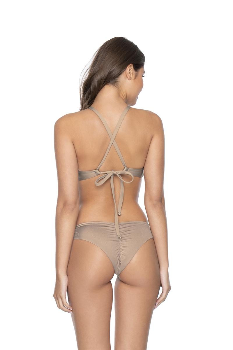 PilyQ Seashell Color Block Knot Halter Bikini Top