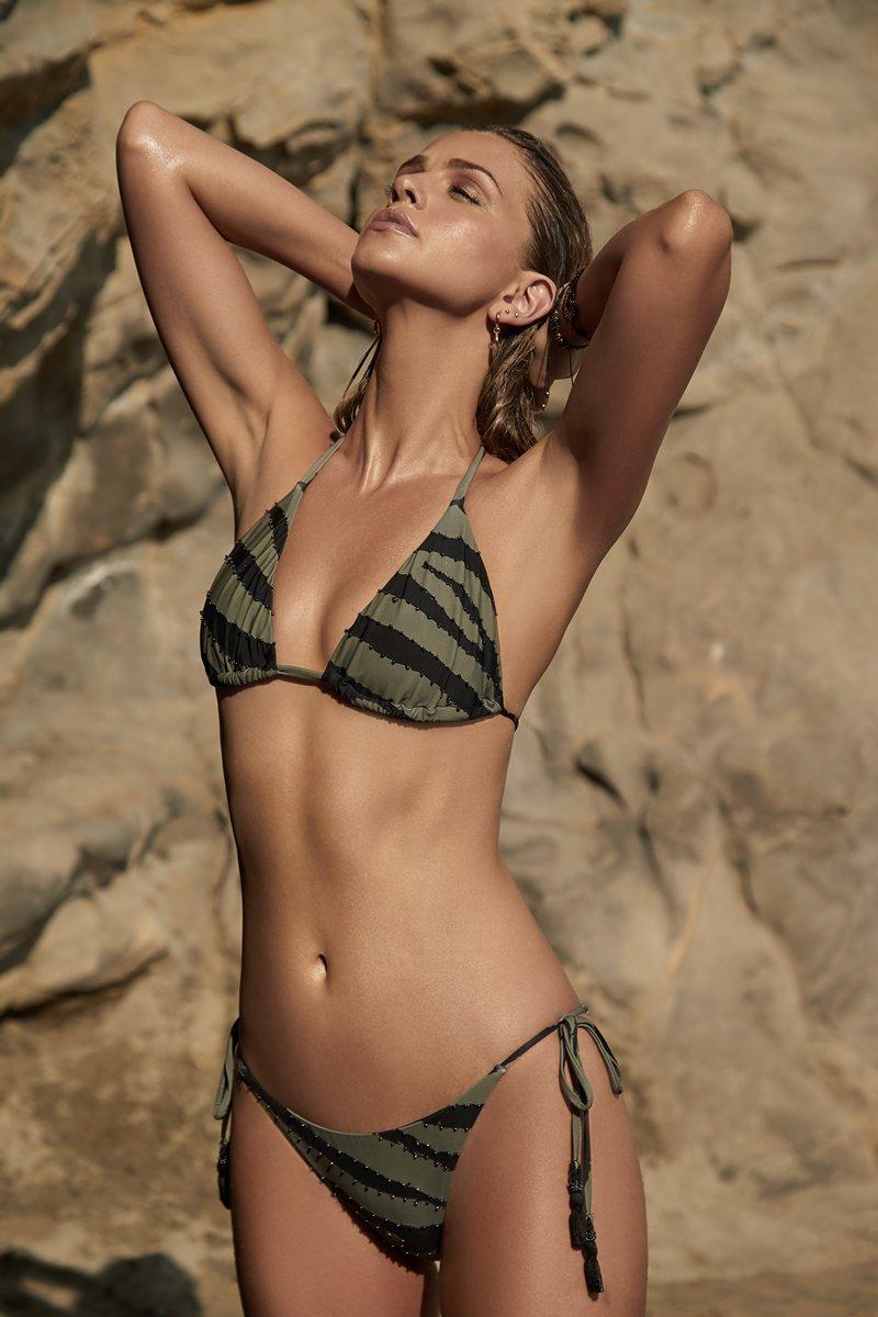 PQ Swim Tigerlily Embroidered Tri Bikini Top
