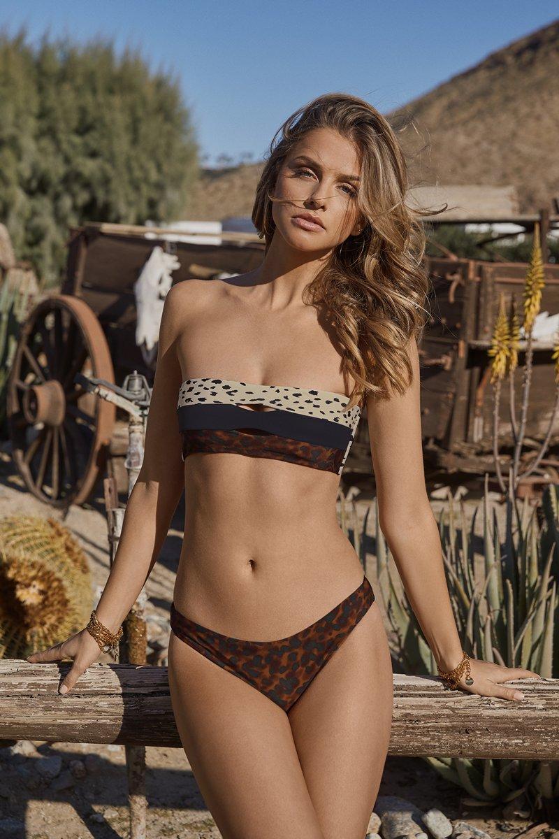 PQ Swim Wild Heart Color Block Bandeau Bikini Top