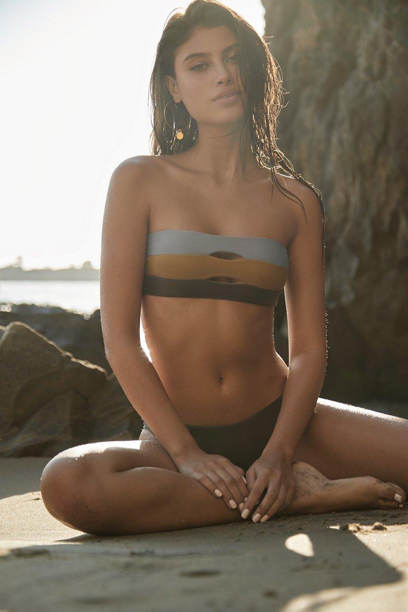 PQ Swim Moss Color Block Bandeau Bikini Top