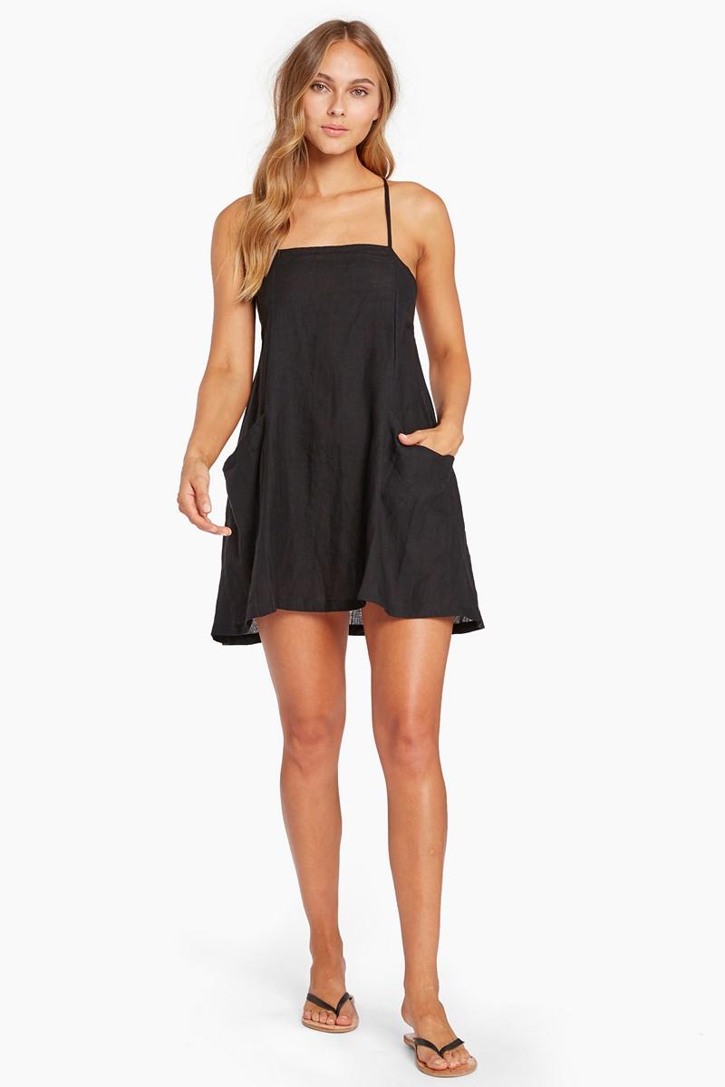 Vitamin A Black Ecolinen Nola Mini Dress