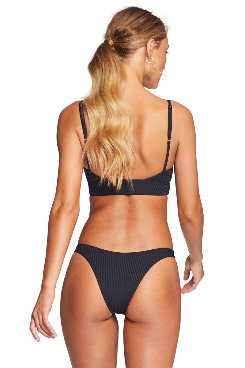 Vitamin A California High Leg Bikini Bottom in Black EcoRib