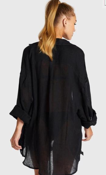 Vitamin A EcoLinen Playa Shirt Dress in Black
