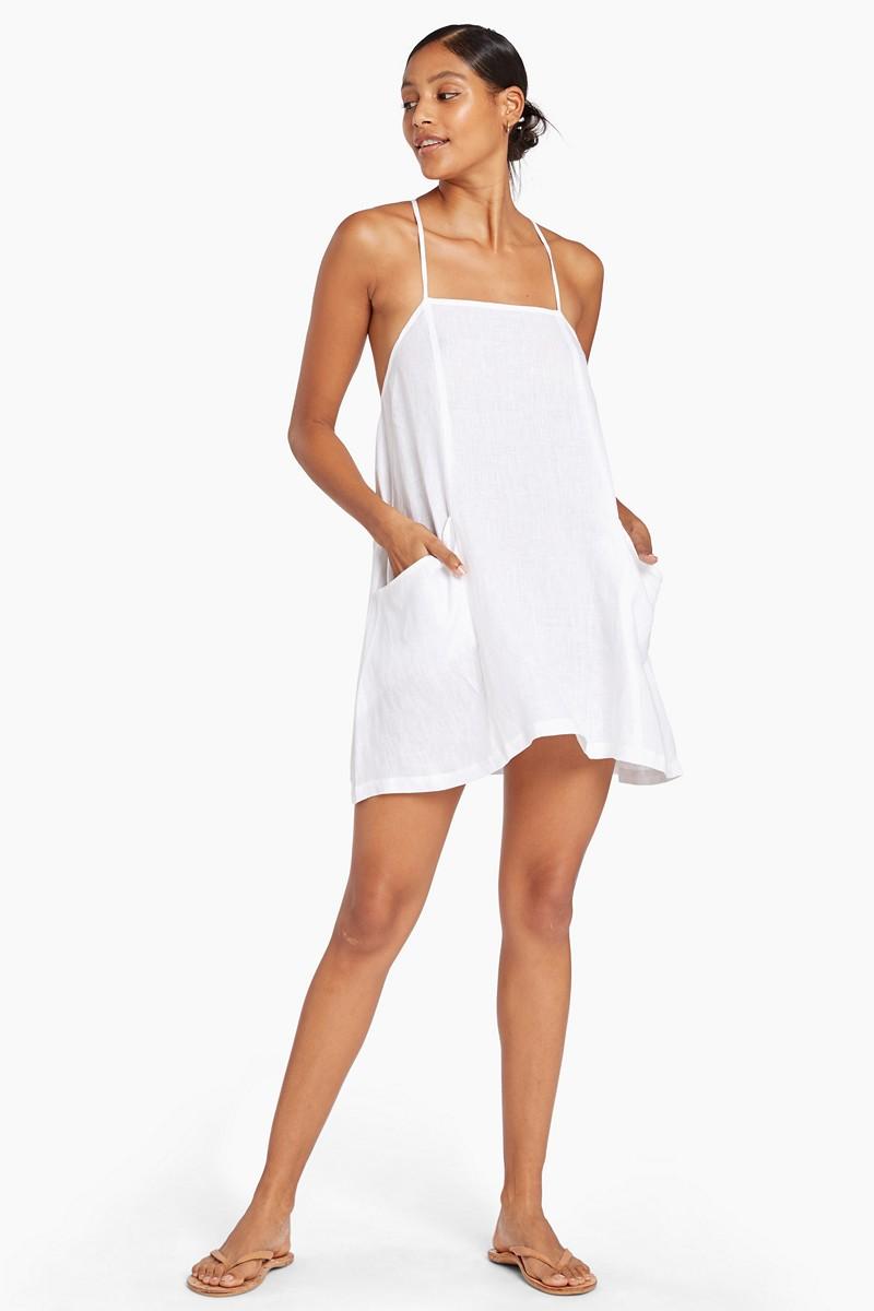 Vitamin A White EcoLinen Nola Mini Dress